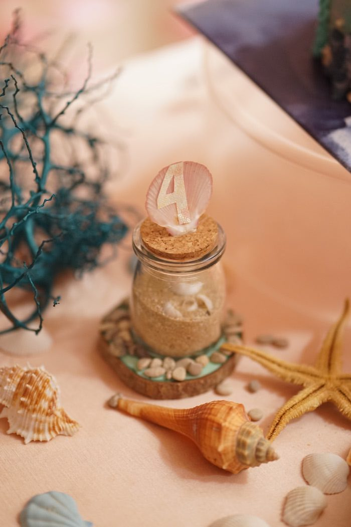 Sand Bottle from a Coral Reef Mermaid Birthday Shell-abration on Kara's Party Ideas | KarasPartyIdeas.com (14)