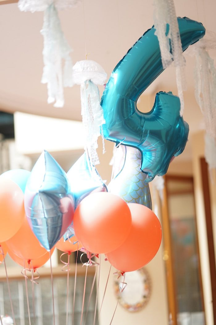 Balloon Bunch from a Coral Reef Mermaid Birthday Shell-abration on Kara's Party Ideas | KarasPartyIdeas.com (13)