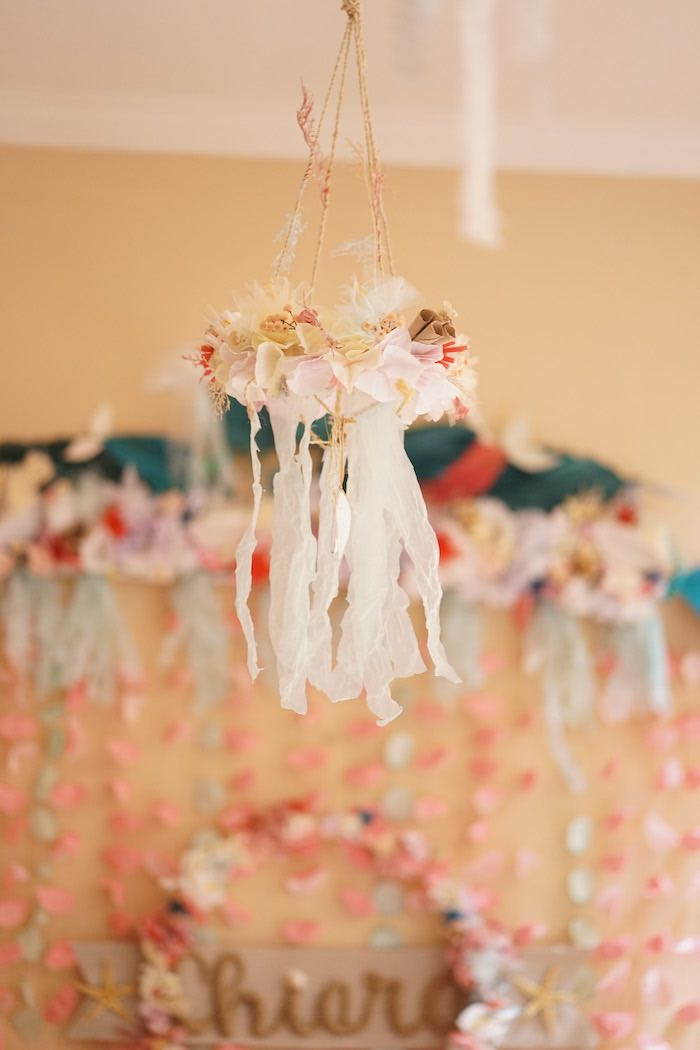 Sea Shell Tassel Chandelier from a Coral Reef Mermaid Birthday Shell-abration on Kara's Party Ideas | KarasPartyIdeas.com (11)