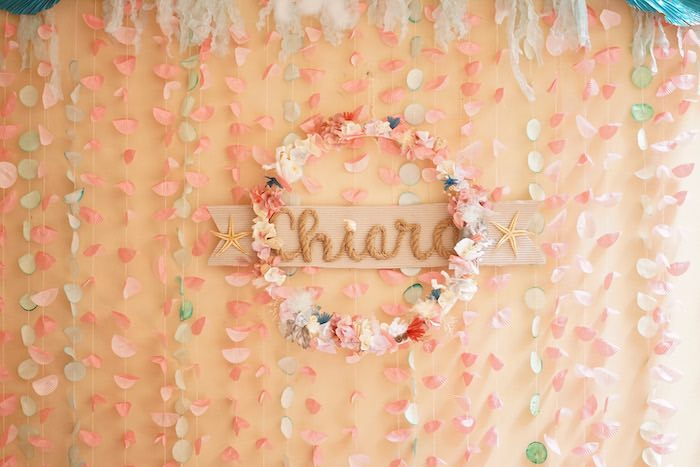 Flower Wreath Backdrop from a Coral Reef Mermaid Birthday Shell-abration on Kara's Party Ideas | KarasPartyIdeas.com (10)