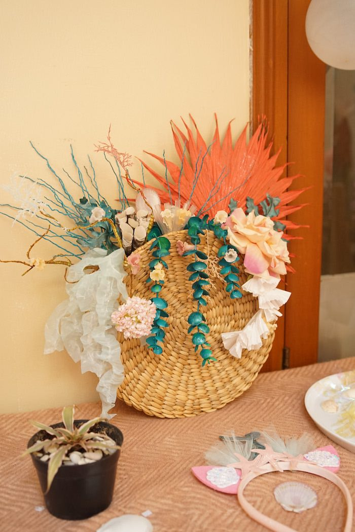 Floral Arrangement from a Coral Reef Mermaid Birthday Shell-abration on Kara's Party Ideas | KarasPartyIdeas.com (6)
