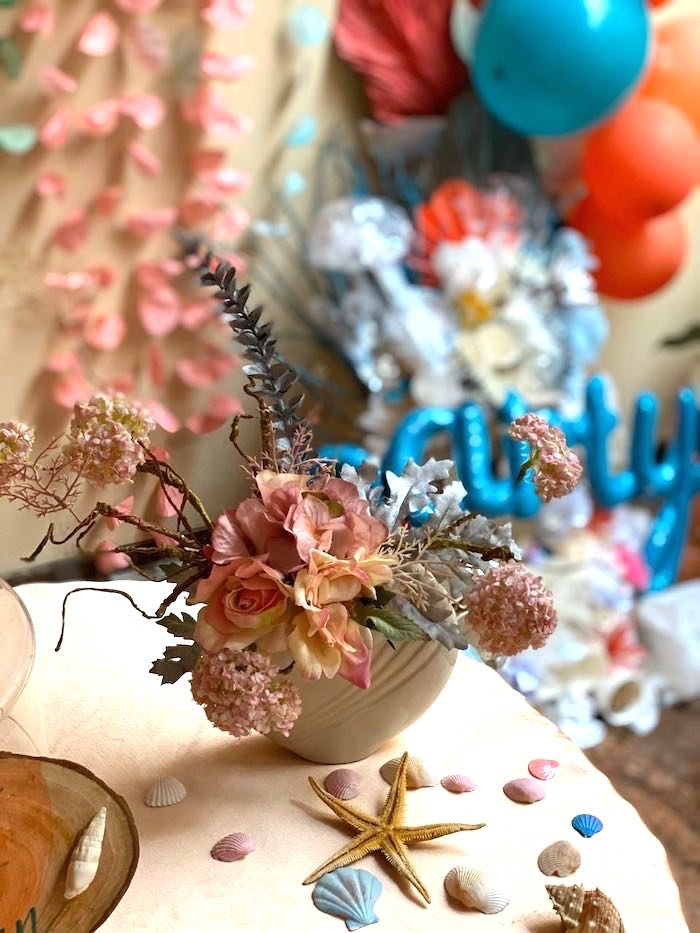 Floral Arrangement from a Coral Reef Mermaid Birthday Shell-abration on Kara's Party Ideas | KarasPartyIdeas.com (4)
