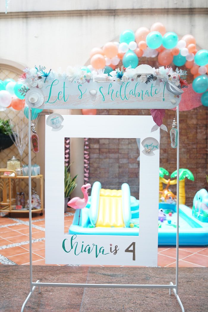 Photo Booth Frame from a Coral Reef Mermaid Birthday Shell-abration on Kara's Party Ideas | KarasPartyIdeas.com (36)