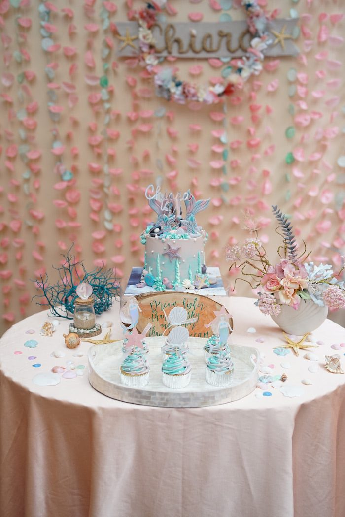 Cake Table from a Coral Reef Mermaid Birthday Shell-abration on Kara's Party Ideas | KarasPartyIdeas.com (35)