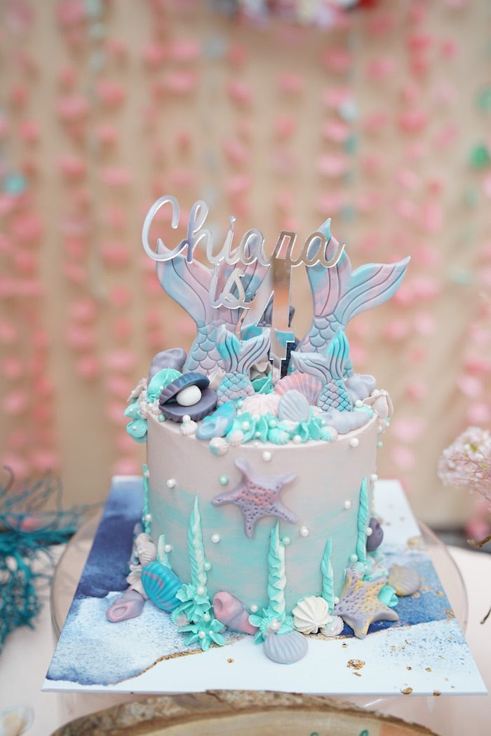 Coral Reef Cake from a Coral Reef Mermaid Birthday Shell-abration on Kara's Party Ideas | KarasPartyIdeas.com (34)