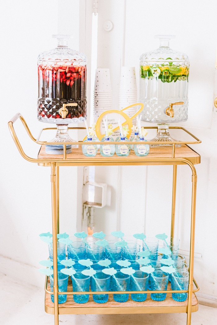 Beverage Cart from a First Launch Space Birthday Party on Kara's Party Ideas | KarasPartyIdeas.com (20)