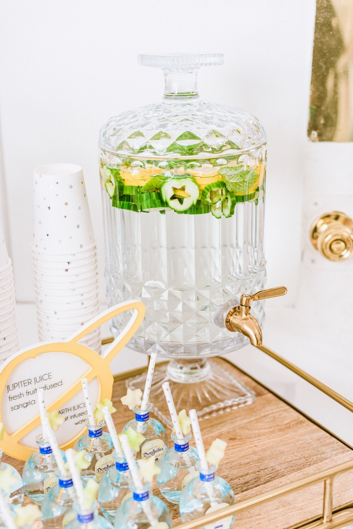 Water Dispenser with Cut-out Star Cucumbers from a First Launch Space Birthday Party on Kara's Party Ideas | KarasPartyIdeas.com (19)