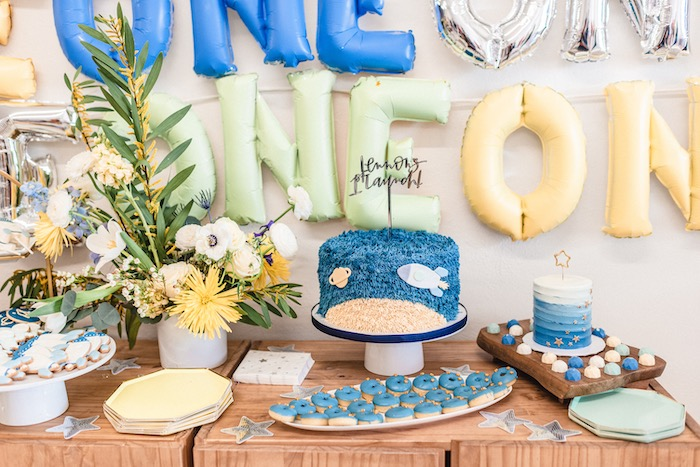 Space Themed Dessert Table from a First Launch Space Birthday Party on Kara's Party Ideas | KarasPartyIdeas.com (11)