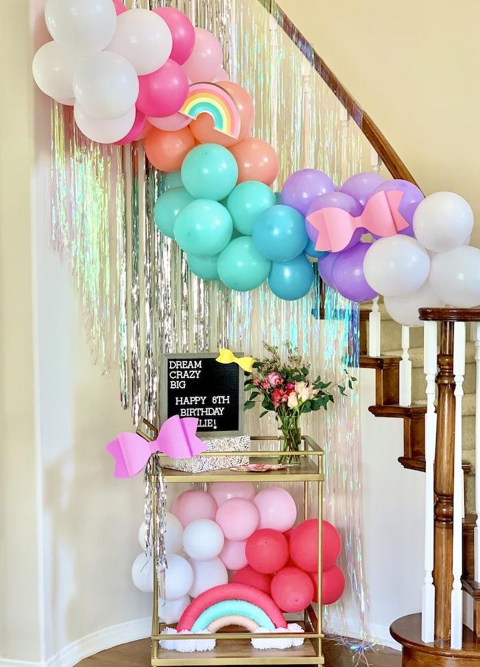 Rainbow Staircase de una gran fiesta de cumpleaños de Jojo Siwa Dream en Kara's Party Ideas | KarasPartyIdeas.com