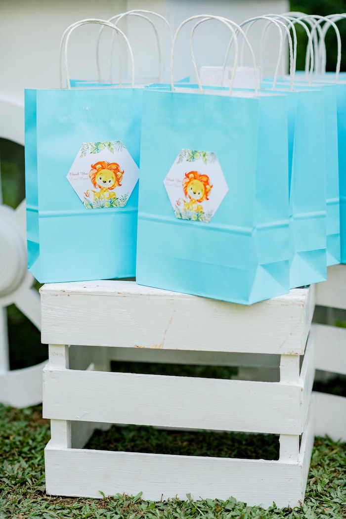 Lion Tag-adorned Gift Bags from a Hot Air Balloon Safari Birthday Party on Kara's Party Ideas | KarasPartyIdeas.com (20)