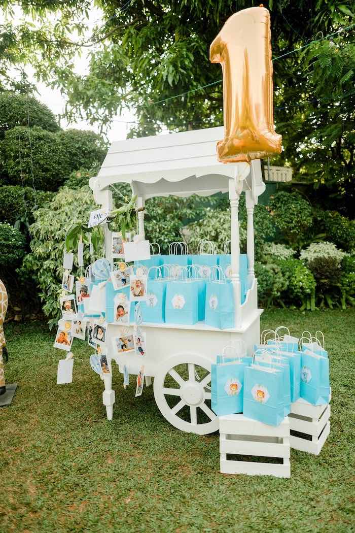 Favor Bag Cart from a Hot Air Balloon Safari Birthday Party on Kara's Party Ideas | KarasPartyIdeas.com (13)