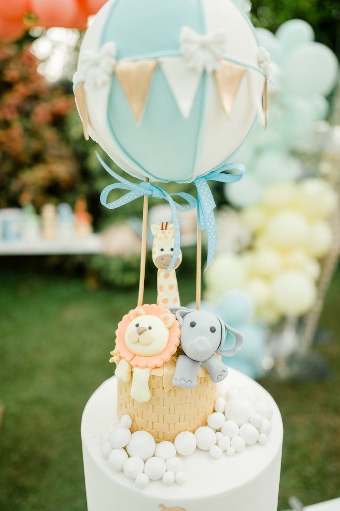 Hot Air Balloon + Safari Animal Cake Top from a Hot Air Balloon Safari Birthday Party on Kara's Party Ideas | KarasPartyIdeas.com (35)