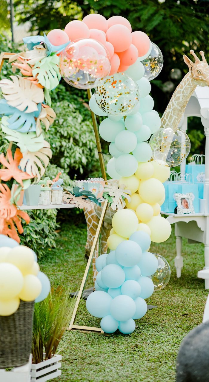 Pastel Safari-inspired Balloon Arch from a Hot Air Balloon Safari Birthday Party on Kara's Party Ideas | KarasPartyIdeas.com (34)
