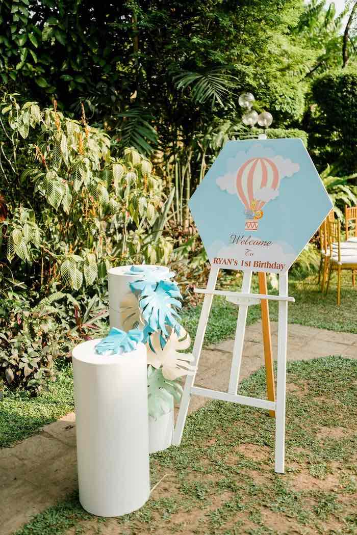 Octagon-shaped Welcome Sign from a Hot Air Balloon Safari Birthday Party on Kara's Party Ideas | KarasPartyIdeas.com (33)
