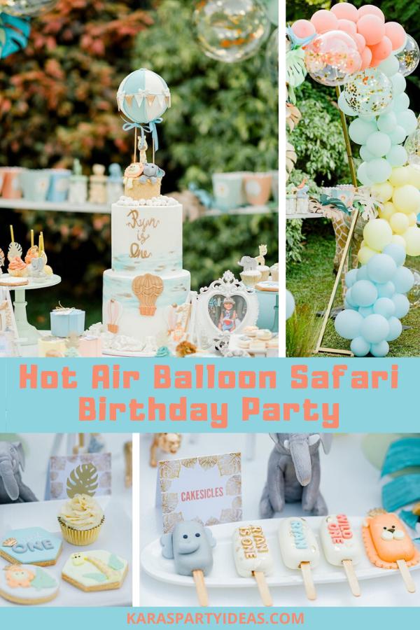 Hot Air Balloon Safari Birthday Party via Kara's Party Ideas - KarasPartyIdeas.com