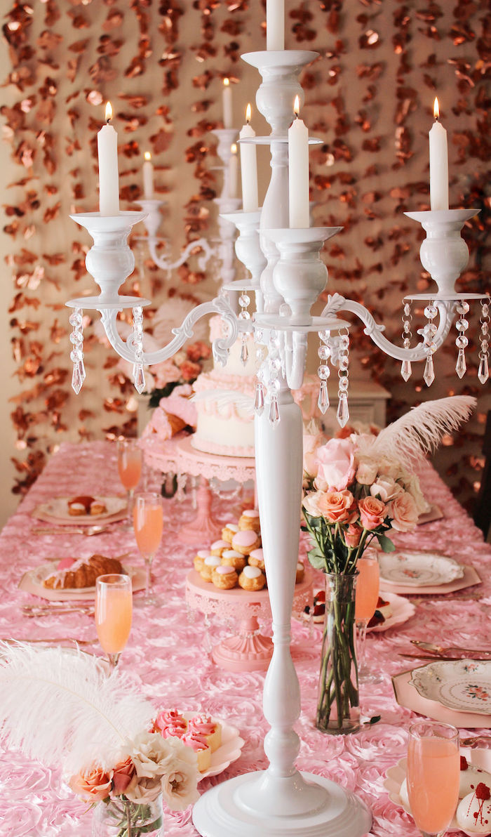White Candleabra from a Marie Antoinette Inspired Party on Kara's Party Ideas | KarasPartyIdeas.com (20)