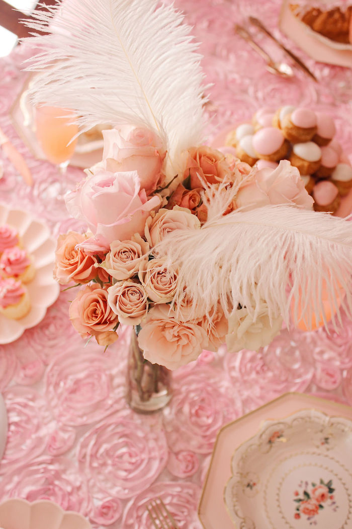 Feather Blooms from a Marie Antoinette Inspired Party on Kara's Party Ideas | KarasPartyIdeas.com (19)