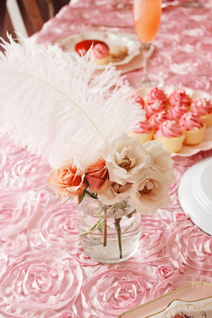 Feather Blooms from a Marie Antoinette Inspired Party on Kara's Party Ideas | KarasPartyIdeas.com (7)