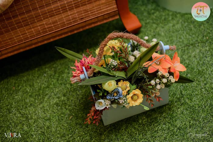 Tropical Floral Arrangement from a Moana Birthday Party on Kara's Party Ideas | KarasPartyIdeas.com (30)