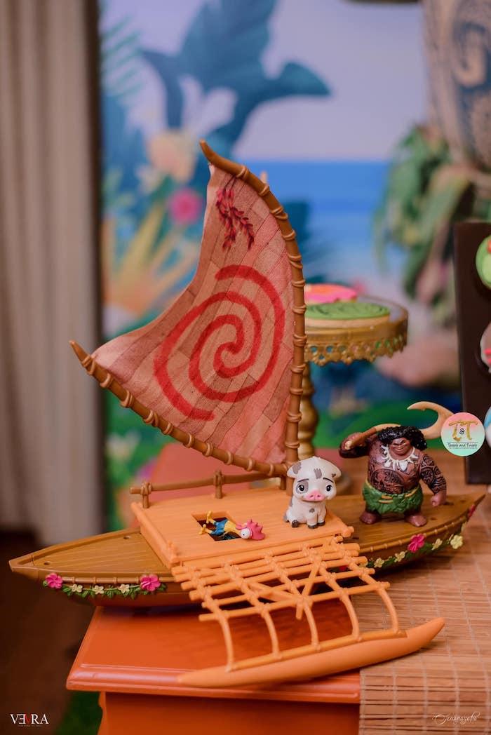 Moana Boat Prop from a Moana Birthday Party on Kara's Party Ideas | KarasPartyIdeas.com (24)