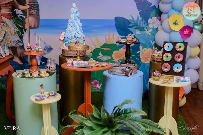 Moana Themed Dessert Display from a Moana Birthday Party on Kara's Party Ideas | KarasPartyIdeas.com (23)