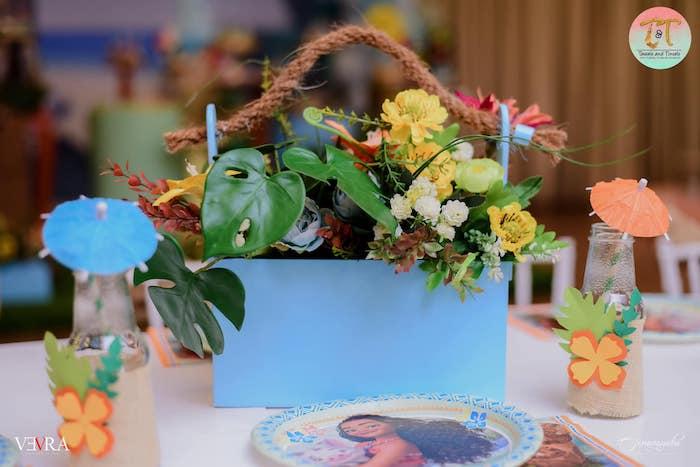 Tropical Floral Table Centerpiece from a Moana Birthday Party on Kara's Party Ideas | KarasPartyIdeas.com (11)