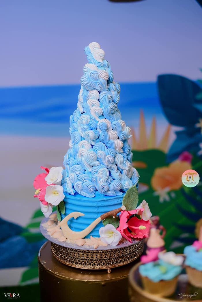 Ocean Wave Meringue Tower from a Moana Birthday Party on Kara's Party Ideas | KarasPartyIdeas.com (6)