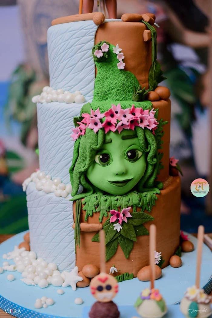 Moana Themed Birthday Cake from a Moana Birthday Party on Kara's Party Ideas | KarasPartyIdeas.com (40)
