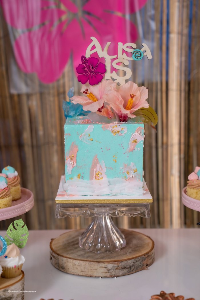 Moana Themed Cake from a Modern & Fresh Moana Birthday Party on Kara's Party Ideas | KarasPartyIdeas.com (29)