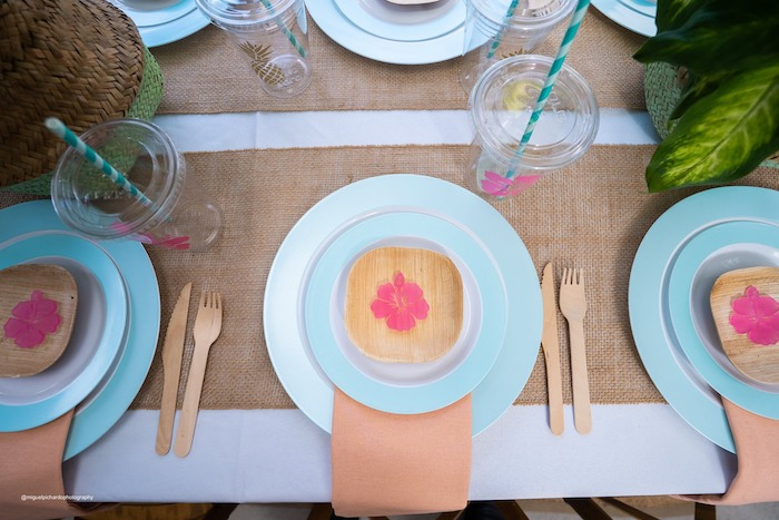Moana Themed Table Setting from a Modern & Fresh Moana Birthday Party on Kara's Party Ideas | KarasPartyIdeas.com (26)