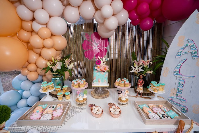 Moana Themed Dessert Table from a Modern & Fresh Moana Birthday Party on Kara's Party Ideas | KarasPartyIdeas.com (23)