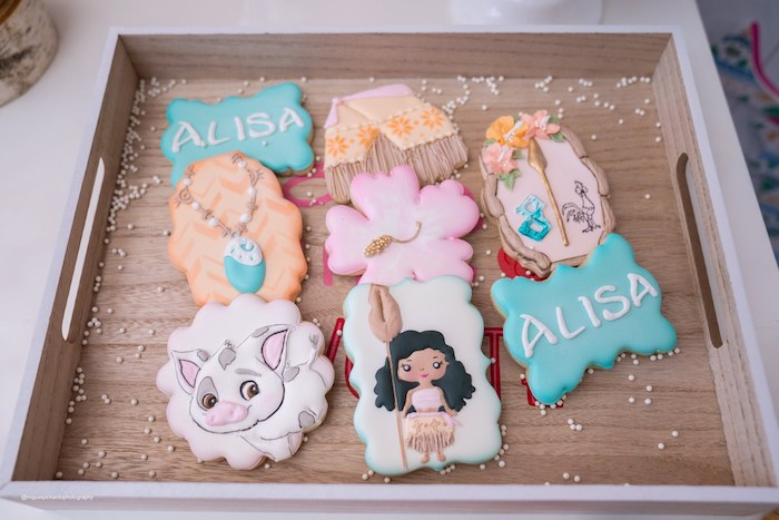 Moana Themed Cookies from a Modern & Fresh Moana Birthday Party on Kara's Party Ideas | KarasPartyIdeas.com (38)
