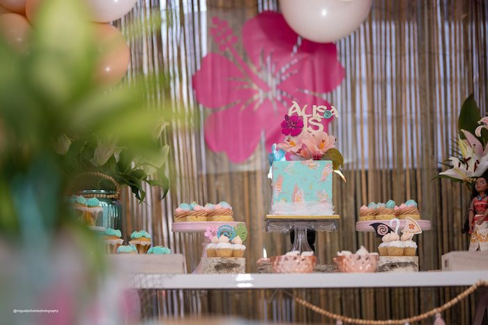 Moana Themed Dessert Table from a Modern & Fresh Moana Birthday Party on Kara's Party Ideas | KarasPartyIdeas.com (14)