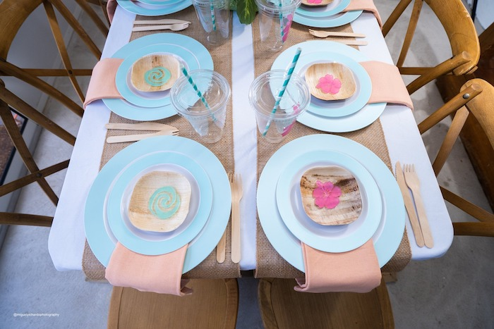 Moana Themed Party Table + Table Settings from a Modern & Fresh Moana Birthday Party on Kara's Party Ideas | KarasPartyIdeas.com (13)