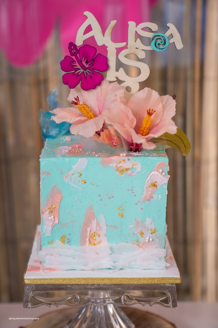 Moana Themed Cake from a Modern & Fresh Moana Birthday Party on Kara's Party Ideas | KarasPartyIdeas.com (12)