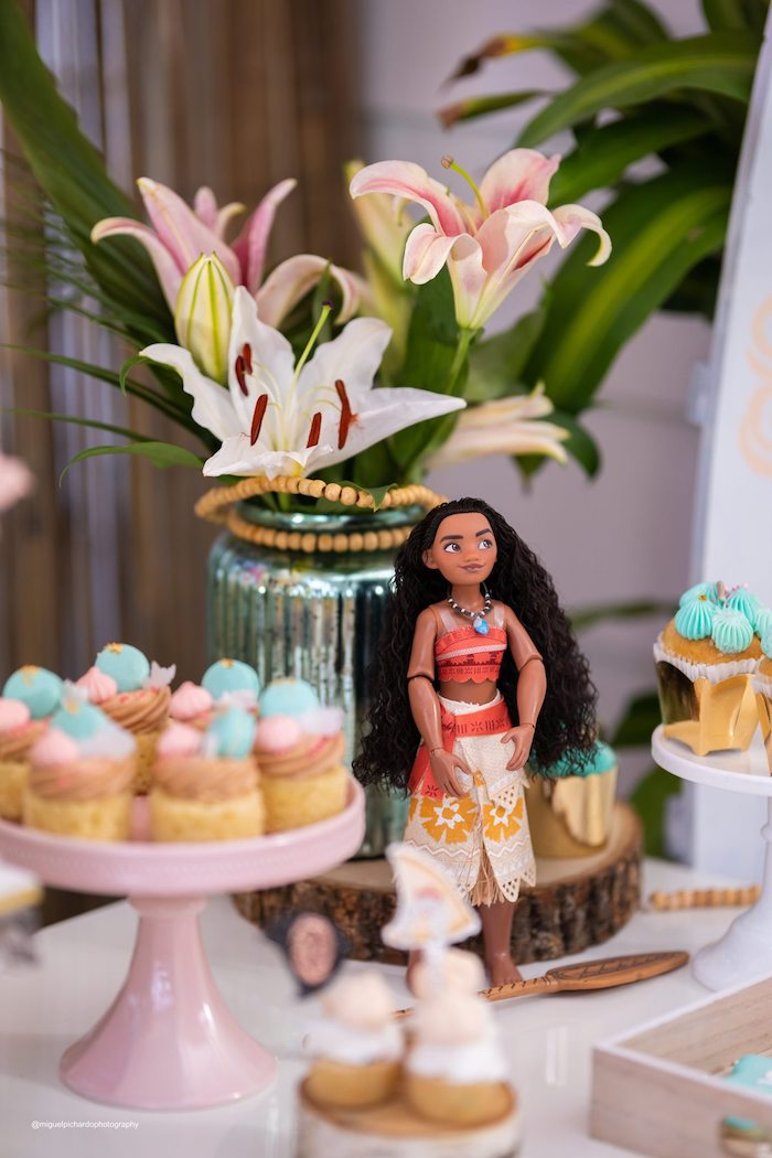 Moana Figurine + Dessert Table Detail from a Modern & Fresh Moana Birthday Party on Kara's Party Ideas | KarasPartyIdeas.com (11)
