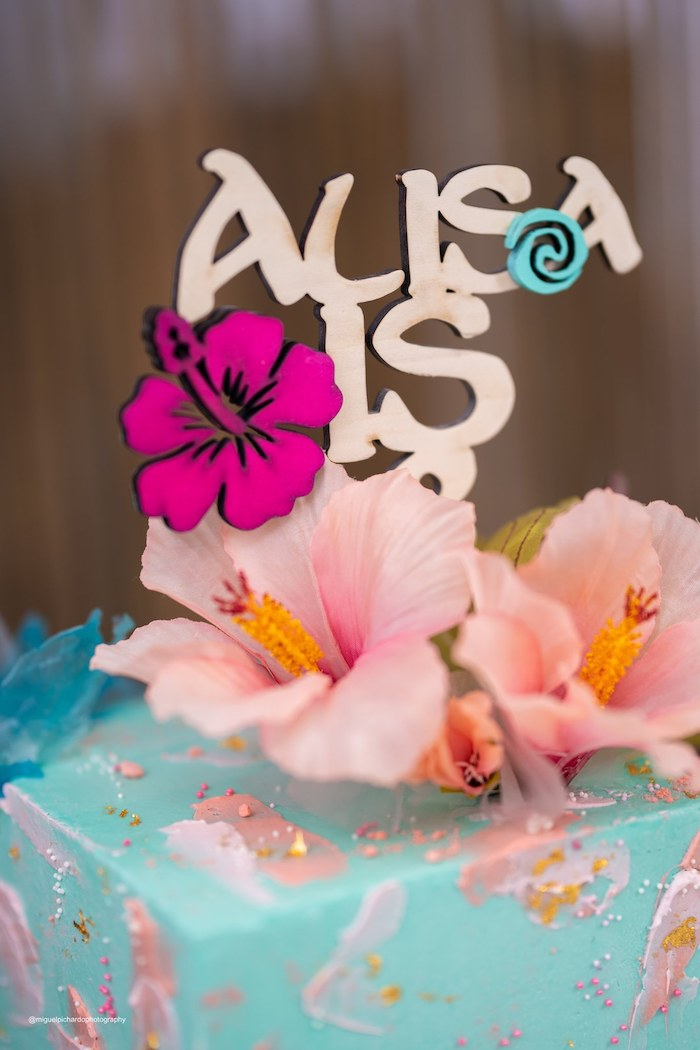Moana Themed Cake Topper from a Modern & Fresh Moana Birthday Party on Kara's Party Ideas | KarasPartyIdeas.com (37)
