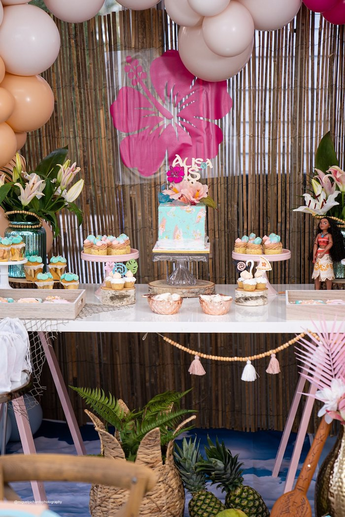 Moana Themed Dessert Table from a Modern & Fresh Moana Birthday Party on Kara's Party Ideas | KarasPartyIdeas.com (5)