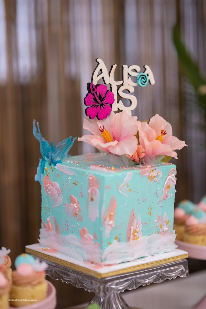 Moana Themed Cake from a Modern & Fresh Moana Birthday Party on Kara's Party Ideas | KarasPartyIdeas.com (3)