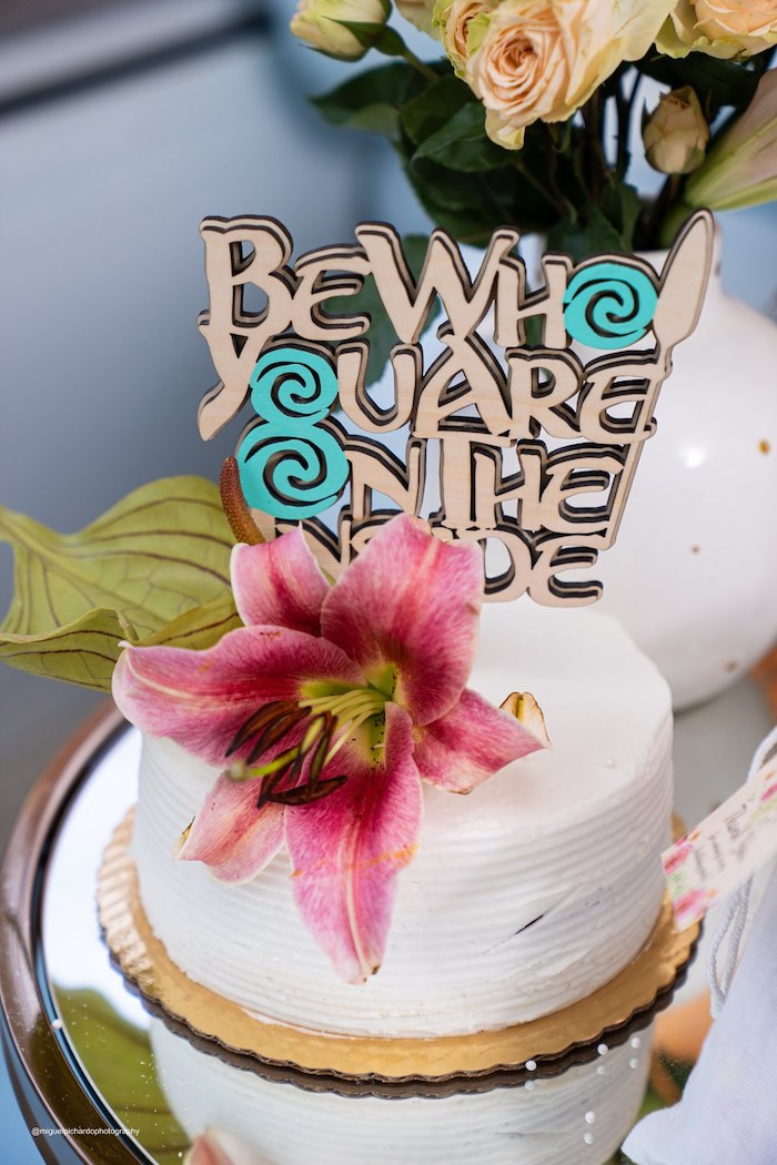 Moana Themed Cake from a Modern & Fresh Moana Birthday Party on Kara's Party Ideas | KarasPartyIdeas.com (2)