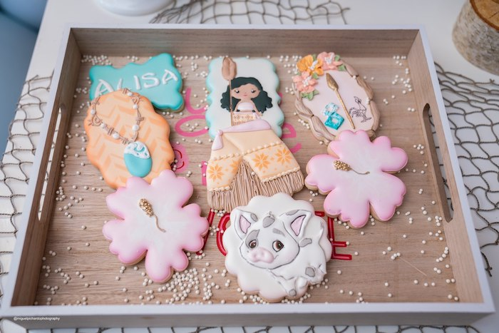Moana Themed Cookies from a Modern & Fresh Moana Birthday Party on Kara's Party Ideas | KarasPartyIdeas.com (34)