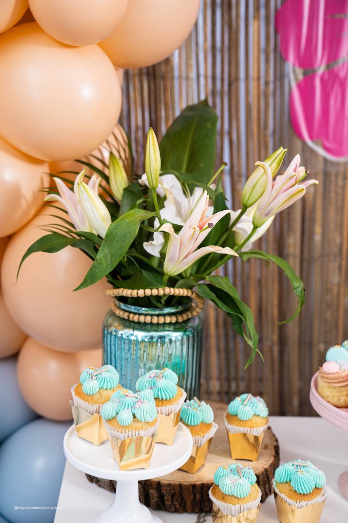 Tropical Floral Arrangement from a Modern & Fresh Moana Birthday Party on Kara's Party Ideas | KarasPartyIdeas.com (33)