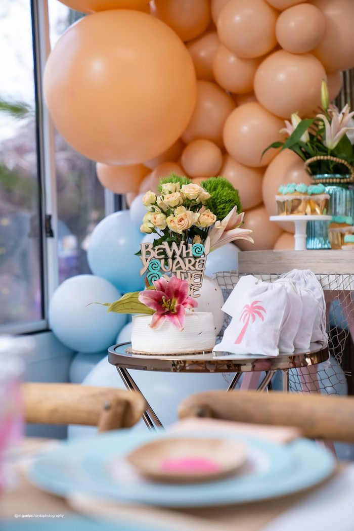 Cake Table from a Modern & Fresh Moana Birthday Party on Kara's Party Ideas | KarasPartyIdeas.com (32)