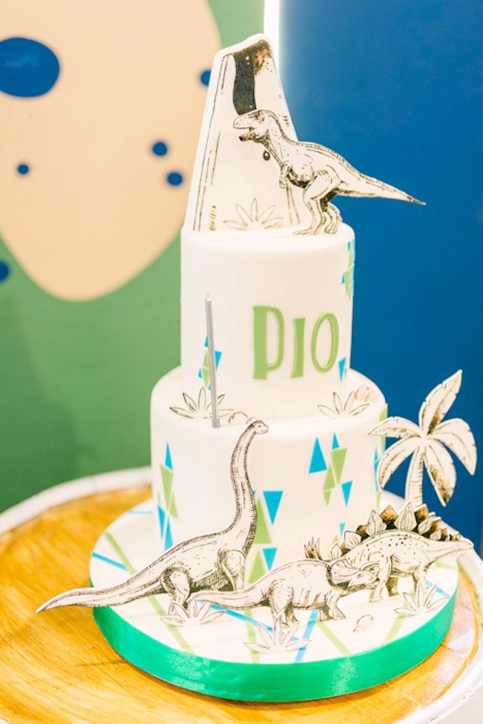 Mod Dinosaur Cake from a Modern Rustic Dinosaur Birthday Party on Kara's Party Ideas | KarasPartyIdeas.com (49)