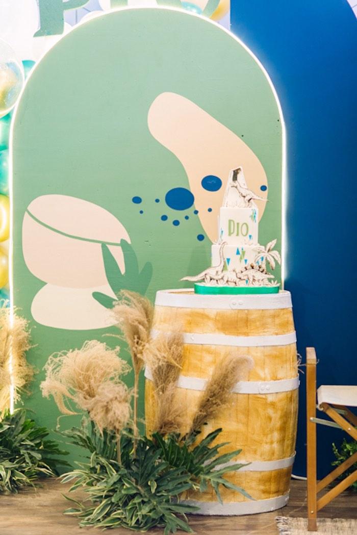 Cake Barrel from a Modern Rustic Dinosaur Birthday Party on Kara's Party Ideas | KarasPartyIdeas.com (46)