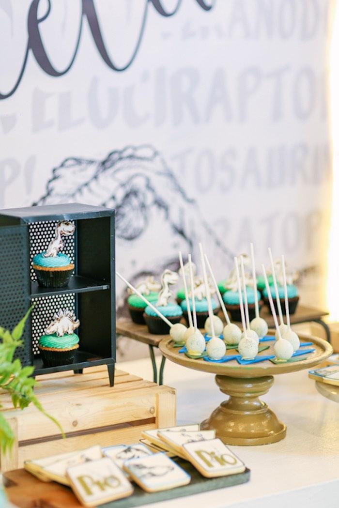 Dinosaur Themed Sweets + Sweet Table from a Modern Rustic Dinosaur Birthday Party on Kara's Party Ideas | KarasPartyIdeas.com (45)