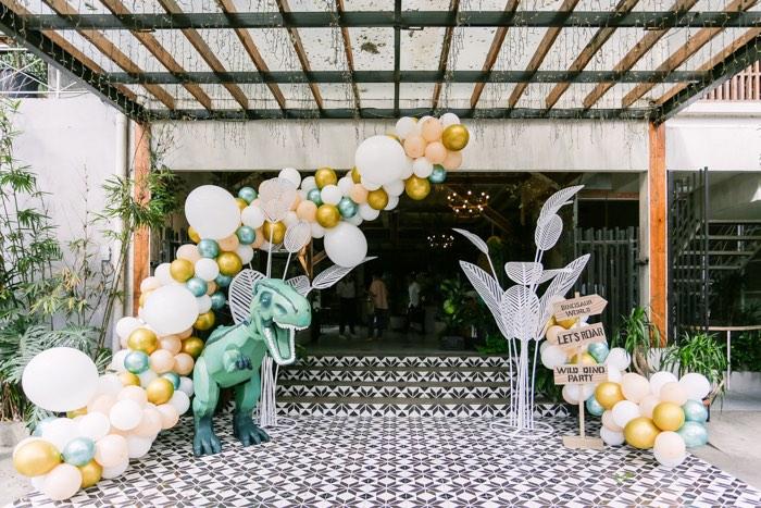 Dinosaur Party Entrance from a Modern Rustic Dinosaur Birthday Party on Kara's Party Ideas | KarasPartyIdeas.com (43)