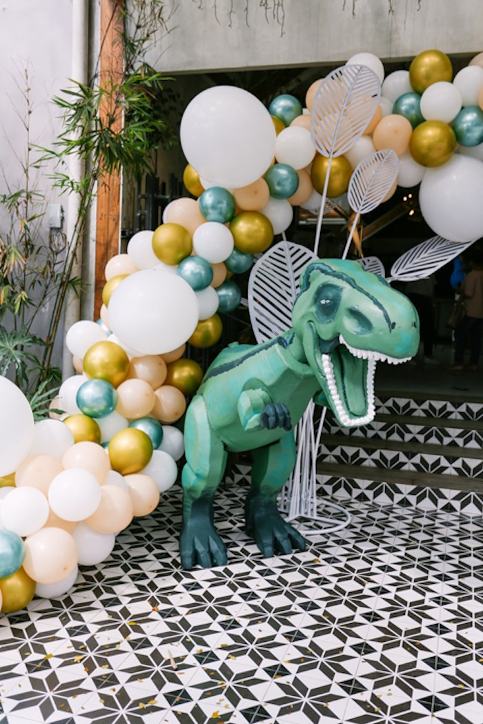 T-Rex + Balloon Garland from a Modern Rustic Dinosaur Birthday Party on Kara's Party Ideas | KarasPartyIdeas.com (42)