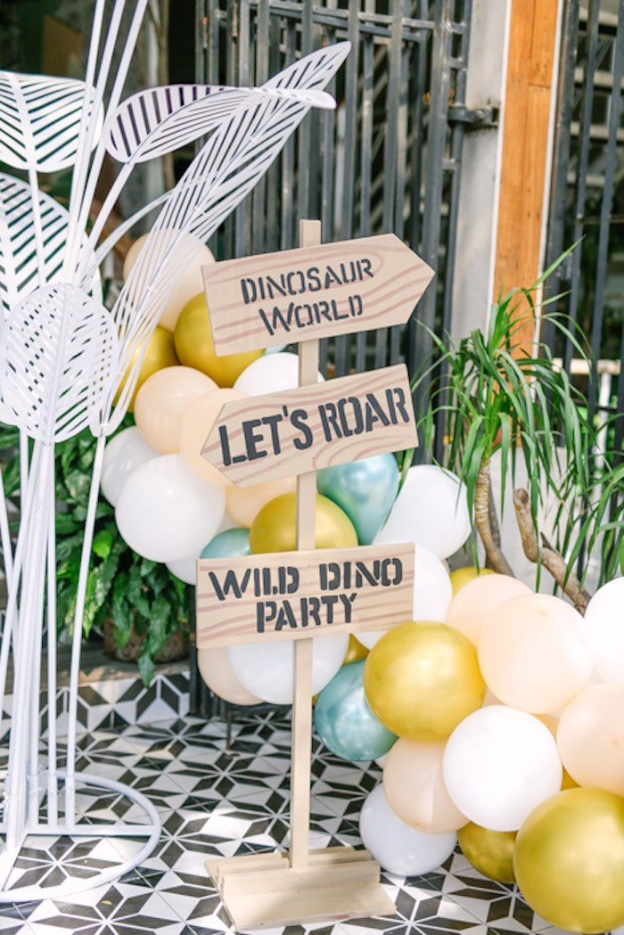 Wood Directional Sign from a Modern Rustic Dinosaur Birthday Party on Kara's Party Ideas | KarasPartyIdeas.com (41)