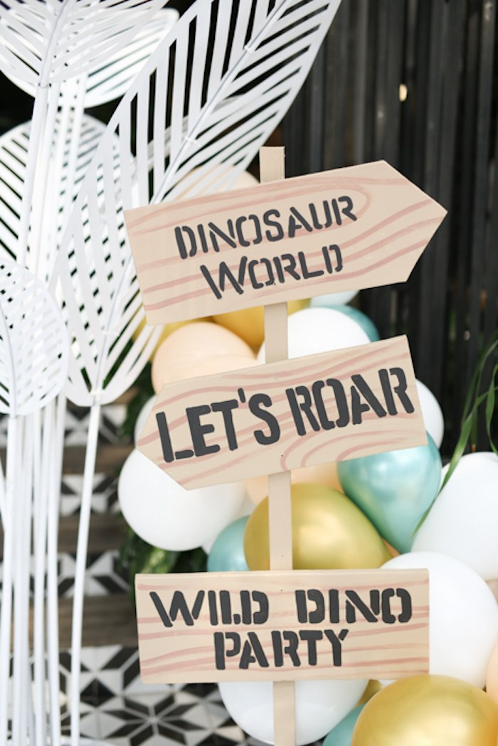 Wood Directional Sign from a Modern Rustic Dinosaur Birthday Party on Kara's Party Ideas | KarasPartyIdeas.com (40)